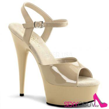 DELIGHT-609 Klasické krémové erotické sexy boty na podpatku