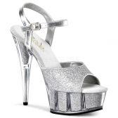 DELIGHT-609-5G Sexy boty na podpatku stříbrná glitr