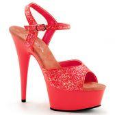 DELIGHT-609UVG Luxusní růžové svítivé sexy boty na podpatku