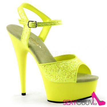 DELIGHT-609UVG Luxusní žluté svítivé sexy boty na podpatku