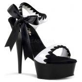 DELIGHT-615 Černá/bílá sexy obuv na podpatku s mašlí