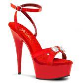 DELIGHT-636 Červená sexy obuv na podpatku a platformě