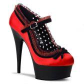 DELIGHT-683 Červeno černé dámské sexy lodičky na podpatku a platformě