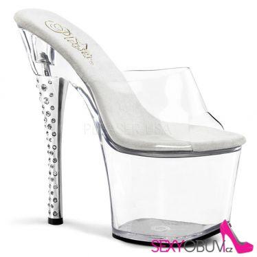 DIAMOND-701 Průhledné sexy pantofle na vysokém podpatku a platformě