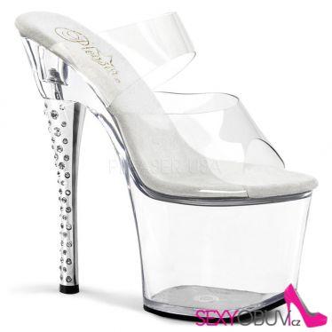 DIAMOND-702 Průhledné sexy pantofle na vysokém podpatku a platformě