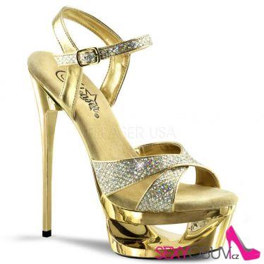 ECLIPSE-619G Zlatá sexy obuv na jehlovém podpatku a platformě