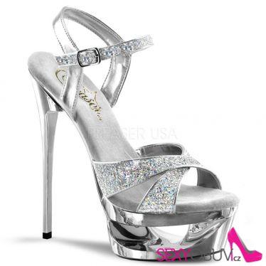 ECLIPSE-619G Stříbrná sexy obuv na jehlovém podpatku a platformě