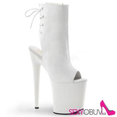 FLAMINGO-1018 Extra vysoké dámské podpatky bílé sexy boty