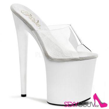 FLAMINGO-801 Extra vysoké dámské podpatky bílá/průhledná sexy obuv