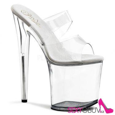 FLAMINGO-802 Průhledné sexy boty vysoké podpatky a platforma