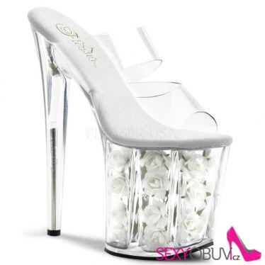FLAMINGO-802FL Sexy boty vysoké podpatky a platforma bílé květy