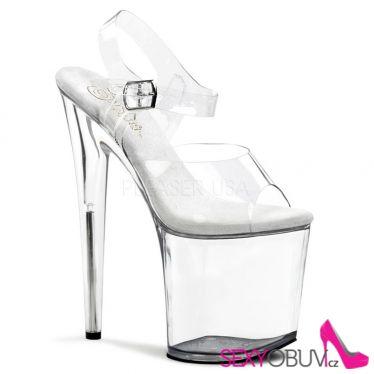 FLAMINGO-808 Sexy průhledné boty vysoké podpatky a platforma
