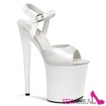 FLAMINGO-809 Bílé sexy boty vysoké podpatky a platforma