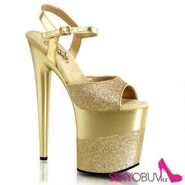 FLAMINGO-809-2G Zlaté sexy boty vysoké podpatky a platforma