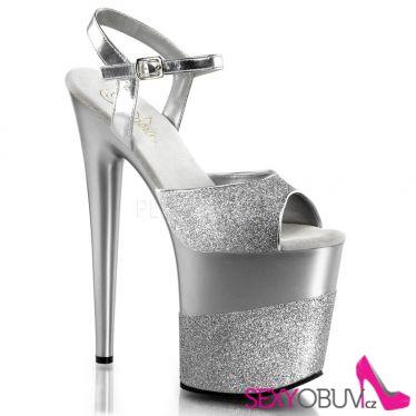 FLAMINGO-809-2G Stříbrné sexy boty vysoké podpatky a platforma