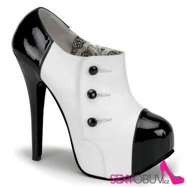 TEEZE-20 Sexy bílo černé dámské lodičky na vysokém podpatku