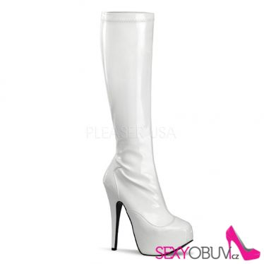 TEEZE-2000 Bílé sexy kozačky pod kolena na podpatku a platformě