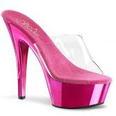 KISS-201 Tmavě růžové/průhledné sexy pantofle na podpatku