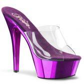 KISS-201 Fialové/průhledné sexy pantofle na podpatku