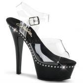 KISS-208LS Klasická strip taneční sexy obuv na podpatku černá/průhledná
