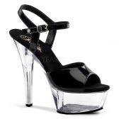 KISS-209 Klasická strip taneční sexy obuv na podpatku černá/průhledná