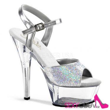 KISS-210 Stříbrné/průhledné sexy boty na podpatku
