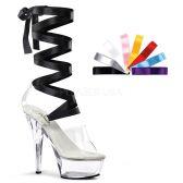 KISS-295 Průhledné sexy boty na vysokém podpatku a platformě s výměnnou mašlí