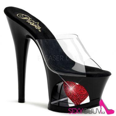 MOON-701HRS Sexy boty na moderní platformě a vysokém podpatku červené srdce