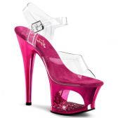 MOON-708DMCH Sexy strip tmavě růžová/průhledná obuv na podpatku a moderní platformě