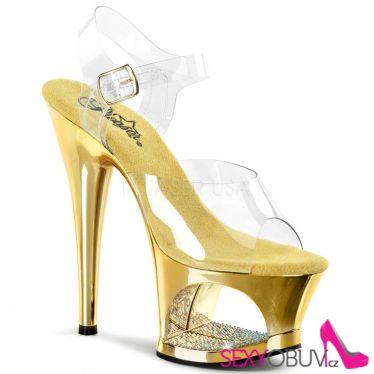 MOON-708DMCH Sexy strip zlatá/průhledná obuv na podpatku a moderní platformě