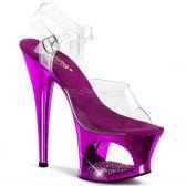 MOON-708DMCH Sexy strip fialová/průhledná obuv na podpatku a moderní platformě