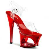 MOON-708DMCH Sexy strip červená/průhledná obuv na podpatku a moderní platformě