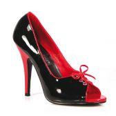 SEDUCE-216 Retro dámské lodičky na podpatku červená/černá