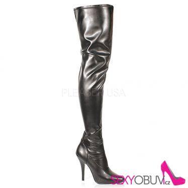 SEDUCE-3000 Černé matné vysoké kozačky nad kolena