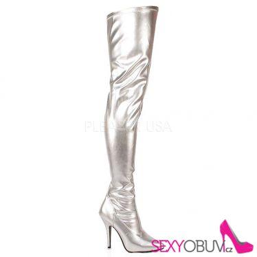 SEDUCE-3000 Stříbrné vysoké kozačky nad kolena