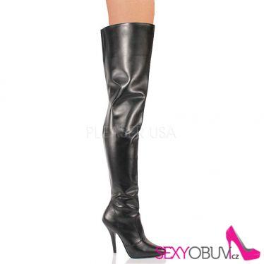 SEDUCE-3010 Černé matné vysoké kozačky nad kolena