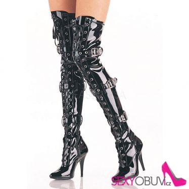 SEDUCE-3028 Černé vysoké kozačky nad kolena s přezkami