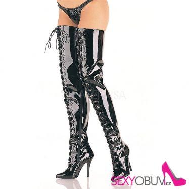 SEDUCE-4026 Černé vysoké kozačky nad kolena