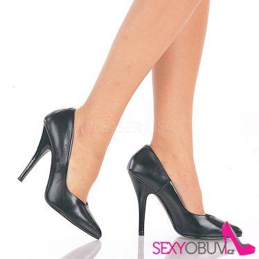 SEDUCE-420 Klasické černé kožené dámské lodičky na podpatku