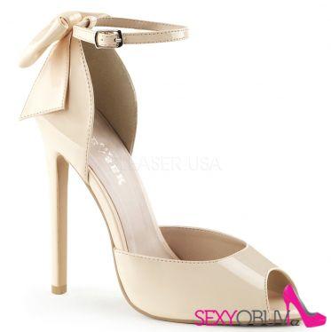SEXY-16 Béžové sexy lodičky na podpatku