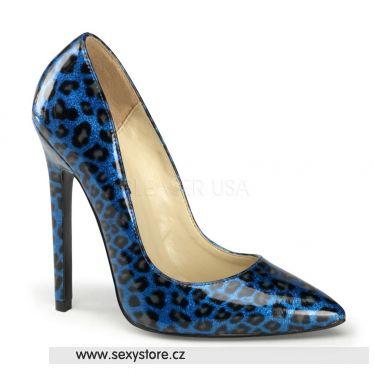 SEXY-20 Modré perleťové sexy lodičky na podpatku