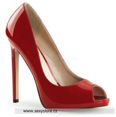 SEXY-42 Červené sexy lodičky na podpatku
