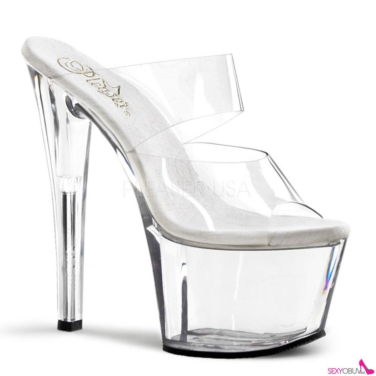 SKY-302 Průhledné dámské sexy boty na podpatku  d79f6ca769