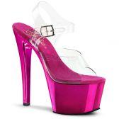 SKY-308 Dámské růžové/průhledné sexy boty na podpatku