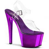 SKY-308 Dámské fialovo/průhledné sexy boty na podpatku