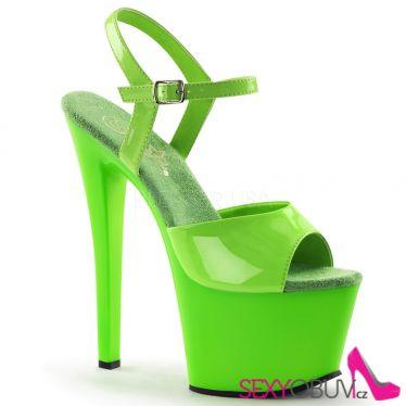 SKY-309UV Dámské zelené svítící sexy boty na podpatku