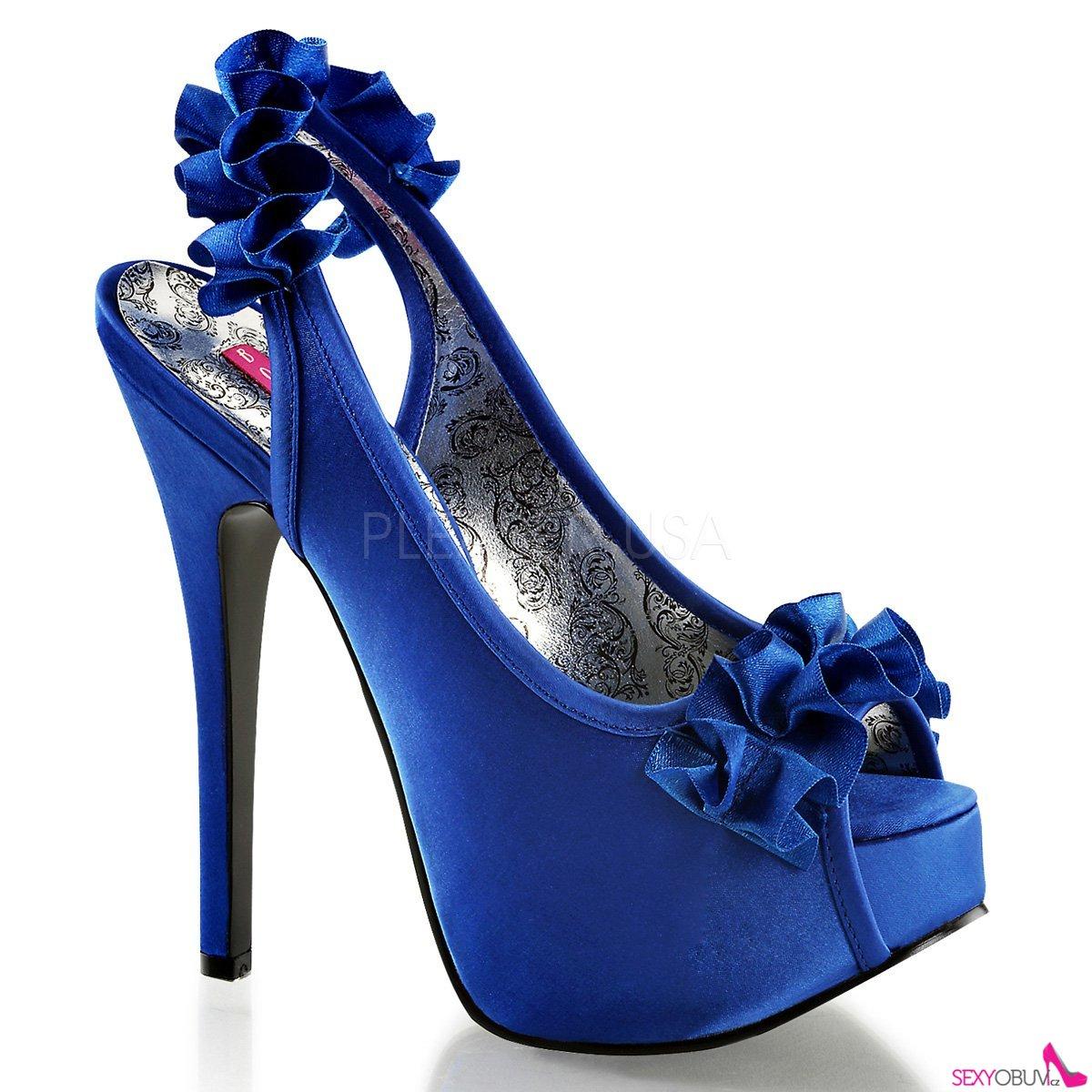d44f9e0f6a0e TEEZE-56 Elegantní modré dámské lodičky na vysokém podpatku ...
