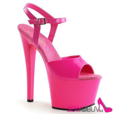 SKY-309UV Dámské růžové svítící sexy boty na podpatku