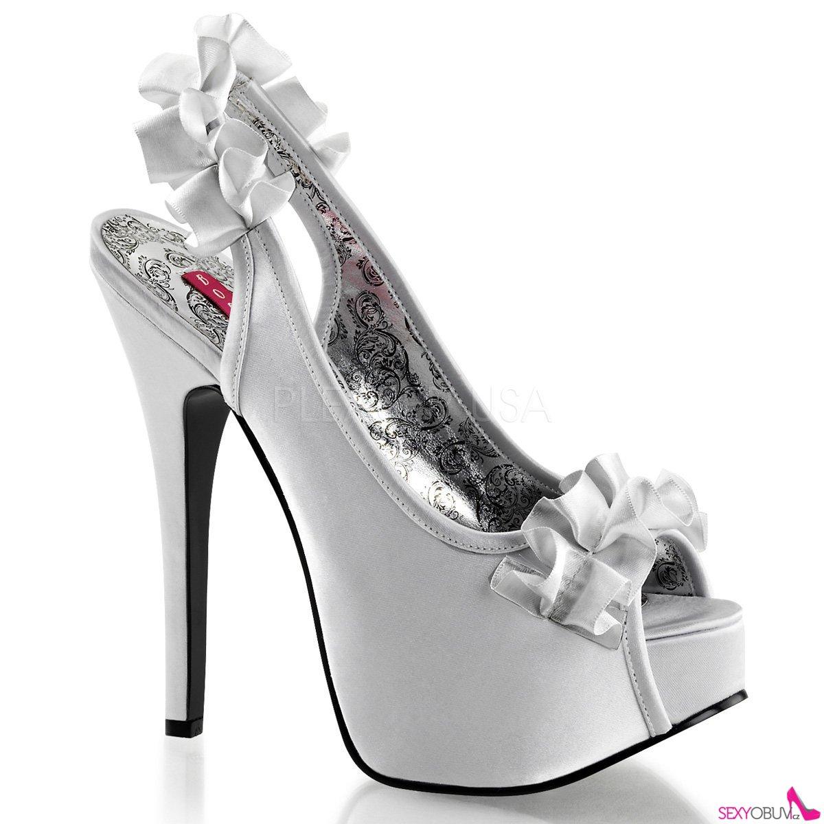 TEEZE-56 Elegantní stříbrné dámské lodičky na vysokém podpatku ... f52c67c3b6