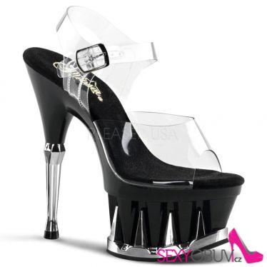 SPIKY-608 Černé/průhledné sexy boty na podpatku a moderní spiky platformě